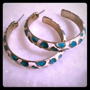 Kennth Jay Lane leopard hoops teal and cream